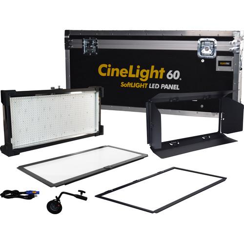 Fluotec Cinelight Studio 60  Interchange Diff Tunable 133W Led Panel Kit With Stand Mt Bracket, Flight Case