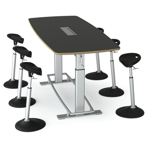 Focal Upright Furniture Confluence 6 Table and Six Mobis Seat Bundle (Matte Black Table Top)