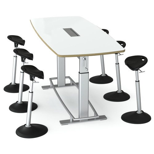 Focal Upright Furniture Confluence 6 Table and Six Mobis Seat Bundle (Dry Erase Table Top)