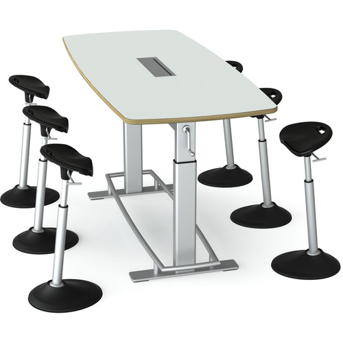 Focal Upright Furniture Confluence 6 Table and Six Mobis Seat Bundle (Glacier White Table Top)