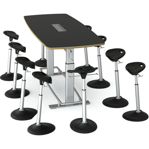 Focal Upright Furniture Confluence 8 Table and Ten Mobis Seat Bundle (Matte Black Table Top)