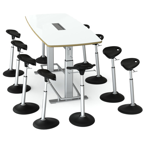 Focal Upright Furniture Confluence 8 Table and Ten Mobis Seat Bundle (Dry Erase Table Top)