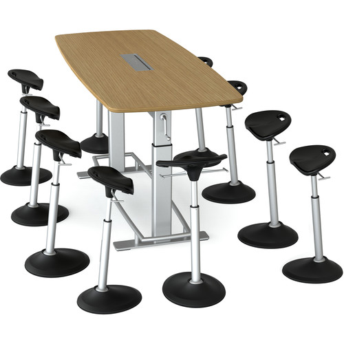 Focal Upright Furniture Confluence 8 Table and Ten Mobis Seat Bundle (White Oak Table Top)