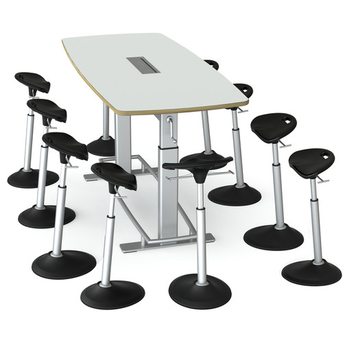 Focal Upright Furniture Confluence 8 Table and Ten Mobis Seat Bundle (Glacier White Table Top)