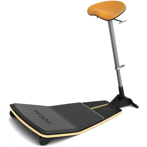 Focal Upright Furniture Locus Leaning Seat with Anti-Fatigue Mat (Black Seat Base, Citrus Cushion)
