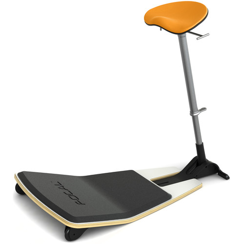 Focal Upright Furniture Locus Leaning Seat with Anti-Fatigue Mat (Glacier White Seat Base, Citrus Cushion)