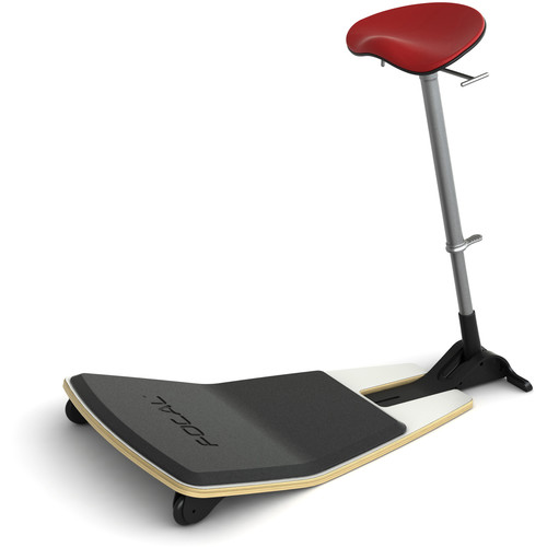 Focal Upright Furniture Locus Leaning Seat with Anti-Fatigue Mat (Glacier White Seat Base, Chili Pepper Cushion)