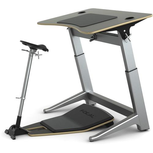 "Focal Upright Furniture Locus Bundle with Desk, Seat, and Anti-Fatigue Mat (48 x 30"", Matte Black, Matte Black)"