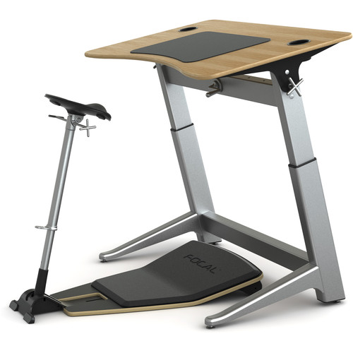 "Focal Upright Furniture Locus Bundle with Desk, Seat, and Anti-Fatigue Mat (48 x 30"", White Oak, Matte Black)"