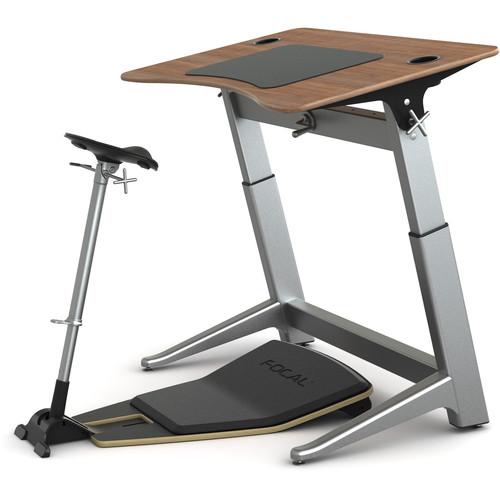"Focal Upright Furniture Locus Bundle with Desk, Seat, and Anti-Fatigue Mat (48 x 30"", Black Walnut, Matte Black)"