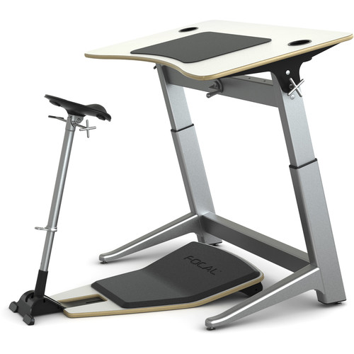"Focal Upright Furniture Locus Bundle with Desk, Seat, and Anti-Fatigue Mat (48 x 30"", Glacier White, Glacier White)"