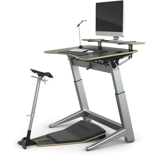 "Focal Upright Furniture Locus Bundle Pro with Matte Black Desk/Seat, Anti-Fatigue Mat & Accessories (30 x 48"")"