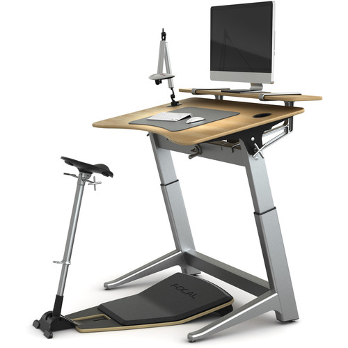 Focal Upright Furniture Locus Bundle Pro with Desk & Shelf, Seat, and Mat (White Oak, Matte Black)