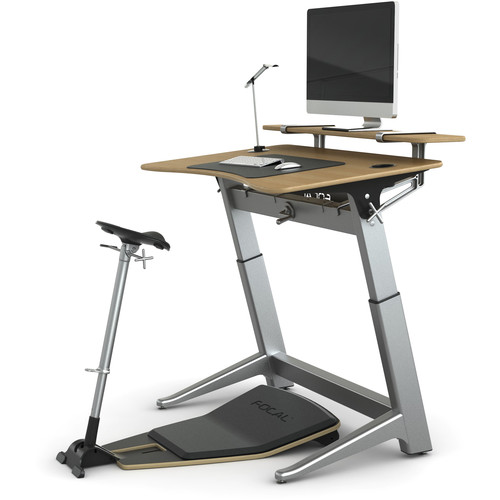 "Focal Upright Furniture Locus Bundle Pro with White Oak Desk, Matte Black Seat, Anti-Fatigue Mat & Accessories (30 x 48"")"