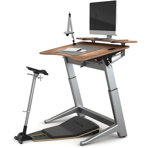 Focal Upright Furniture Locus Bundle Pro with Desk & Shelf, Seat, and Mat (Black Walnut, Matte Black)