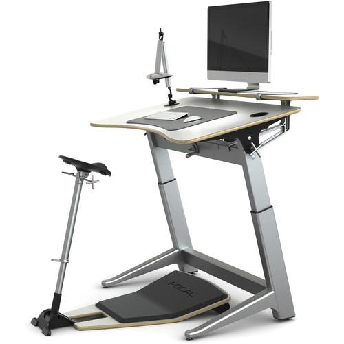 Focal Upright Furniture Locus Bundle Pro with Desk & Shelf, Seat, and Mat (Glacier White, Glacier White)