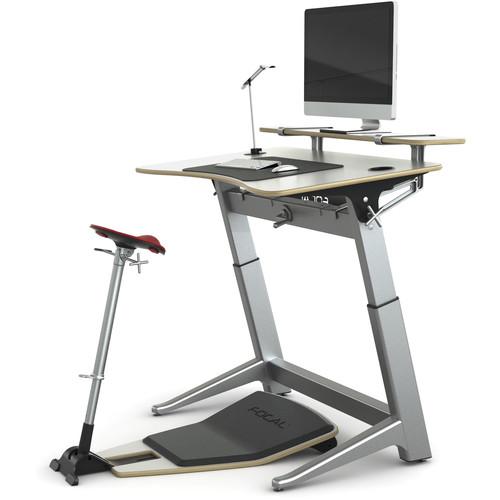 "Focal Upright Furniture Locus Bundle Pro with Glacier White Desk/Seat, Anti-Fatigue Mat & Accessories (30 x 48"")"