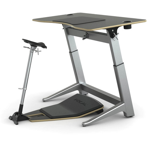 "Focal Upright Furniture Locus Bundle with Matte Black Desk/Seat, and Anti-Fatigue Mat (30 x 60"")"