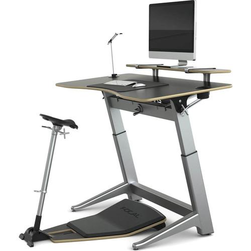"Focal Upright Furniture Locus Bundle Pro with Matte Black Desk/Seat, Anti-Fatigue Mat & Accessories (30 x 60"")"
