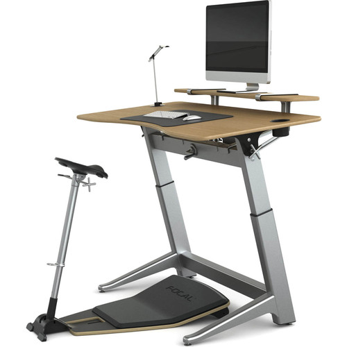 "Focal Upright Furniture Locus Bundle Pro with White Oak Desk, Matte Black Seat, Anti-Fatigue Mat & Accessories (30 x 60"")"