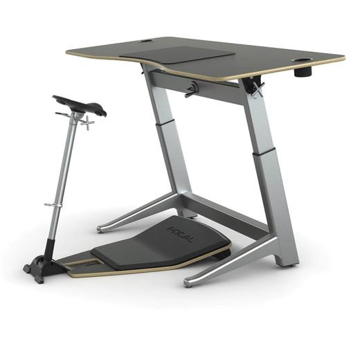 "Focal Upright Furniture Locus Bundle with Matte Black Desk/Seat, and Anti-Fatigue Mat (30 x 72"")"