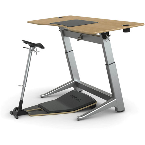 "Focal Upright Furniture Locus Bundle with White Oak Desk, Matte Black Seat, and Anti-Fatigue Mat (30 x 72"")"