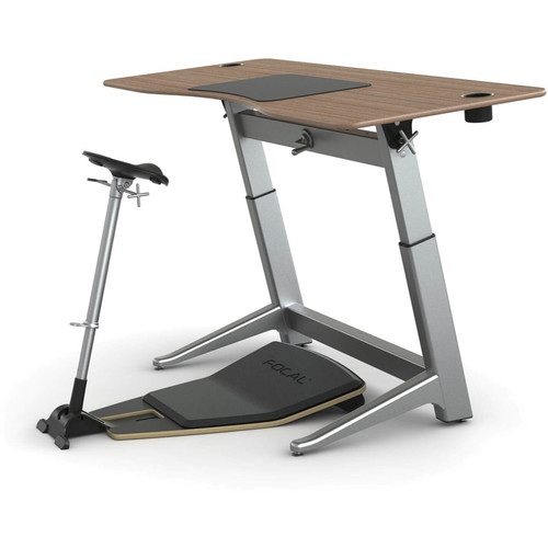 "Focal Upright Furniture Locus Bundle with Black Walnut Desk, Matte Black Seat, and Anti-Fatigue Mat (30 x 72"")"