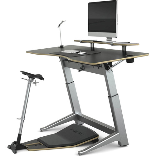 "Focal Upright Furniture Locus Bundle Pro with Matte Black Desk/Seat, Anti-Fatigue Mat & Accessories (30 x 72"")"