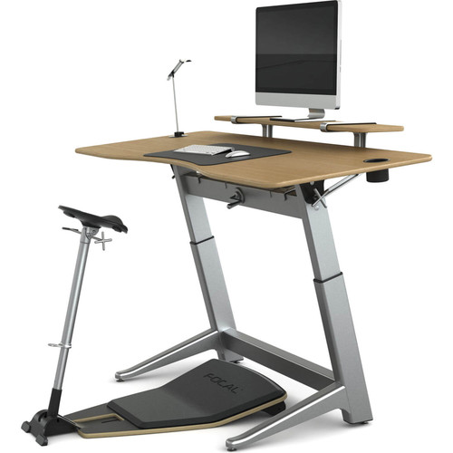 "Focal Upright Furniture Locus Bundle Pro with White Oak Desk, Matte Black Seat, Anti-Fatigue Mat & Accessories (30 x 72"")"