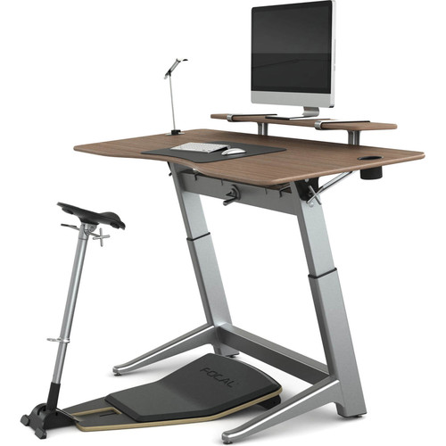"Focal Upright Furniture Locus Bundle Pro with Black Walnut Desk, Matte Black Seat, Anti-Fatigue Mat & Accessories (30 x 72"")"