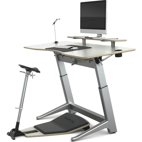 "Focal Upright Furniture Locus Bundle Pro with Glacier White Desk/Seat, Anti-Fatigue Mat & Accessories (30 x 72"")"