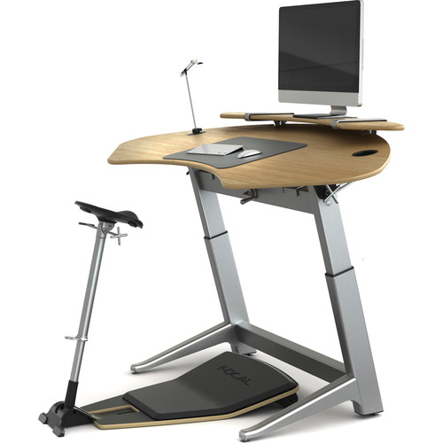 Focal Upright Furniture Sphere Bundle with White Oak Desk, Matte Black Seat and Anti-Fatigue Mat