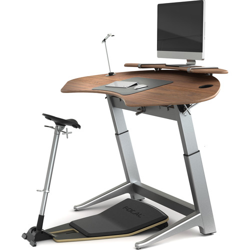 Focal Upright Furniture Sphere Bundle with Black Walnut Desk, Matte Black Seat and Anti-Fatigue Mat