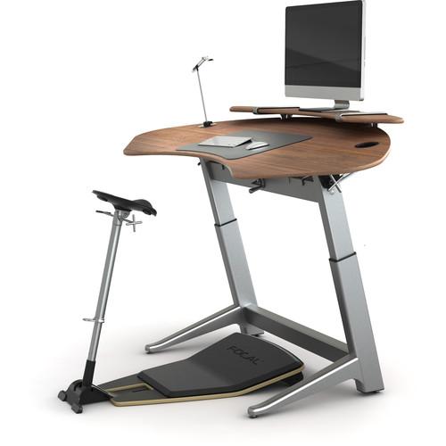 Focal Upright Furniture Sphere Bundle with Desk & Shelf and Locus Seat (Black Walnut, Matte Black)