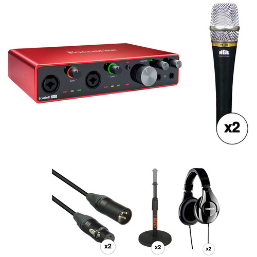 Focusrite 2-Person Handheld Podcasting Kit with Scarlett 8i6 USB Audio Interface, Blue enCORE Mics, Cables, Stands & Headphones