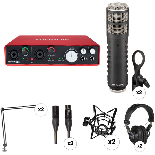 Focusrite 2 Person Podcasting Kit with Scarlett 6i6 USB Audio Interface, Rode Procaster Mics, Headphones & More