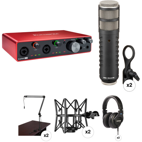 Focusrite 2-Person Podcasting Kit with Scarlett 8i6 USB Audio Interface, Rode Procaster Mics, Stands & Headphones