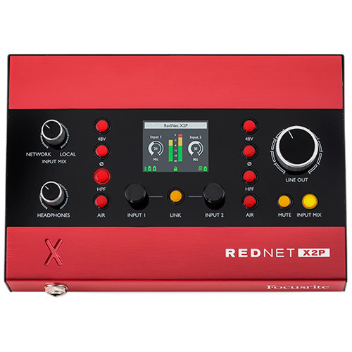 Focusrite Pro RedNet X2P 2x2 Dante Audio Interface with Red Evolution Mic Pres