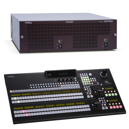 For.A HVS-390HS HD/SD 2M/E Switcher with HVS-392WOU 28 Button Panel