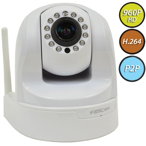 Foscam FI9826P 1.3MP Wireless Indoor PTZ IP Camera with 4-9mm Varifocal Lens (White)