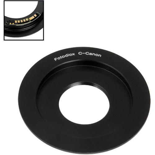 FotodioX Lens Mount Adapter with Generation v10 Focus Confirmation Chip for C-Mount Lens to Canon EF or EF-S Mount Camera