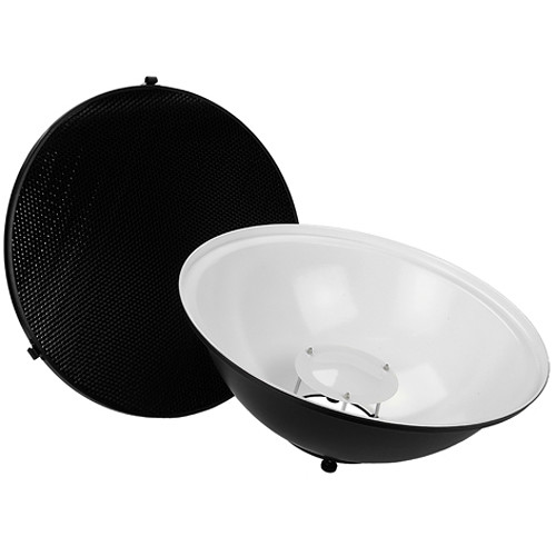 """FotodioX Pro Beauty Dish Kit with 50-Degree Honeycomb Grid Bowens and Calumet Travelite Flash Heads (18"""")"""