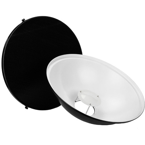 "FotodioX Pro Beauty Dish Kit with 50-Degree Honeycomb Grid Bowens and Calumet Travelite Flash heads (22"")"