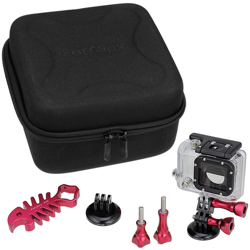 FotodioX Pro GoTough CamCase Double Kit for GoPro HD Hero, Hero2, Hero3/3+, & Hero4 (Red)