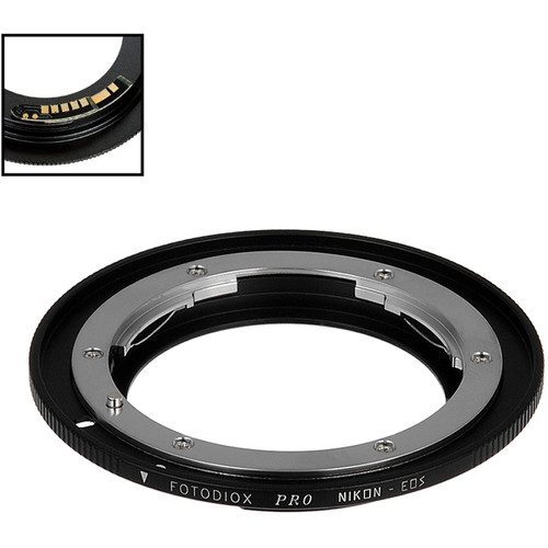 FotodioX Pro Lens Mount Adapter with Generation v10 Focus Confirmation Chip for Nikon F-Mount Lens to Canon EF or EF-S Mount Camera