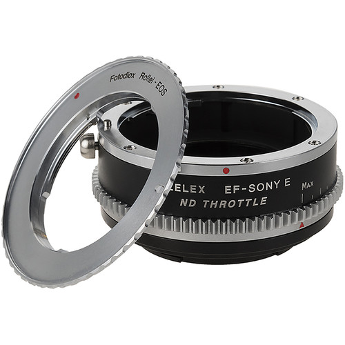 FotodioX Vizelex Cine ND Throttle Double Adapter-Rollei 35 SLR Canon EOS Mount Lenses to Sony Alpha E-Mount