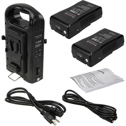 FotodioX Dual Position Battery Charger Kit with 2 Li-Ion 130Wh V-Mount Batteries