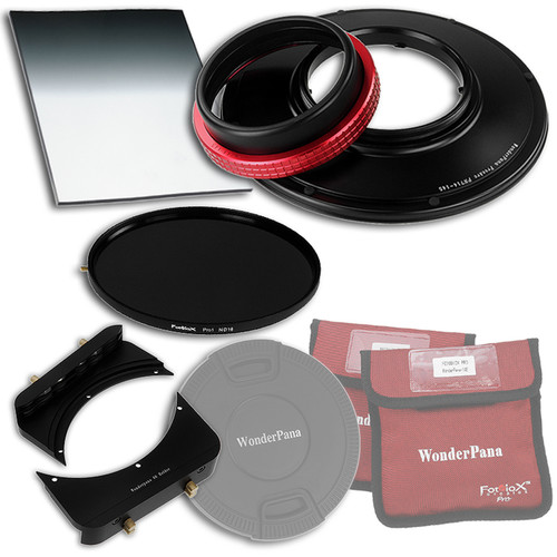 """FotodioX WonderPana FreeArc Core Unit Kit for Panasonic 7-14mm Lens with 145mm Solid Neutral Density 1.2 and 6.6 x 8.5"""" Hard-Edge Graduated Neutral Density 0.6 Filters"""