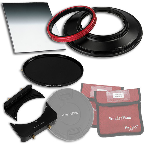 """FotodioX WonderPana FreeArc Core Unit Kit for Canon 14mm Lens with 145mm Solid Neutral Density 1.2 and 6.6 x 8.5"""" Soft-Edge Graduated Neutral Density 0.6 Filters"""