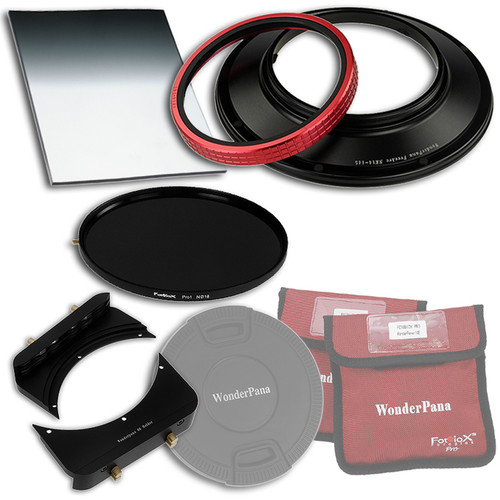 """FotodioX WonderPana FreeArc Core Unit Kit for Nikon 14mm Lens with 145mm Solid Neutral Density 1.2 and 6.6 x 8.5"""" Soft-Edge Graduated Neutral Density 0.6 Filters"""